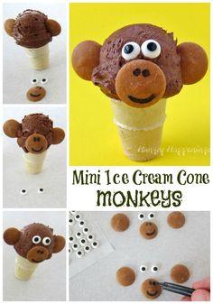 Mini Chocolate Ice Cream Cone Monkeys by @hungryhappening