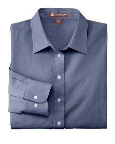 448bec3c24fad Harriton Womens Chambray Cotton Long Sleeve Button Down Shirt M555W Shirt  Sleeves