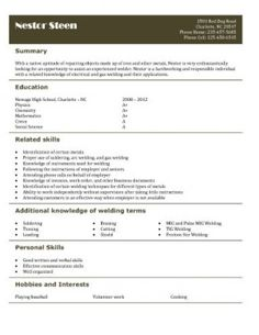 Welder Resume Free Resume Templates For High School Students Babysitting Fast