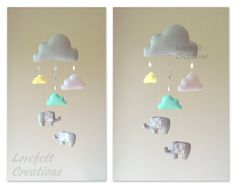 Baby mobile - Clouds Mobile - Baby Mobile elephant - Raindrops mobile