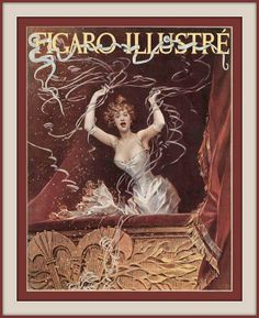 1894 March COVER   From Figaro illustré. (Paris) Woman on balcony celebrating with streamers