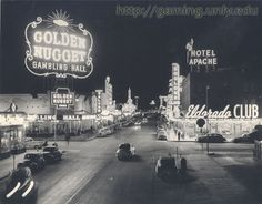By 1948, downtown Las Vegas was a neon-lit oasis of gambling halls. The Golden Nugget's sign burned the brightest, perhaps, but three years later Vegas Vic, a waving cowboy, would tower above the Pioneer and give downtown an enduring icon.  The Eldorado would soon be bought by Benny Binion, who would rename it the Horseshoe and create one of gaming's most famous names.
