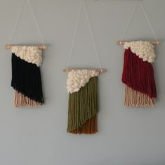 Loving the combo of these three stylish woven wall hangings. Available to buy from my etsy shop.  #weaving #woven #gifts #etsy #handmade #crafts #art
