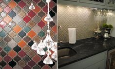 multicolor and single color arabesque tiles