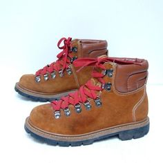 Made by Sears in the - Classic vintage hiking boots Brown suede boots with tan leather cuffs Red laces, lace up 7 metal eyelets Very sturdy rubber soles Comfortable with great ankle support Size 7 B listed Consult measurements for best fit 3 My Childhood Memories, Sweet Memories, 90s Childhood, Red Lace, Lace Up, Baby Boomer, Thing 1, Hiking Shoes, These Girls