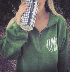 It's officially Sweatshirt Season!  Get your Monogrammed Quarter Zip Sweatshirt today - available in many colors including this new and popular Heathered Meadow Green!