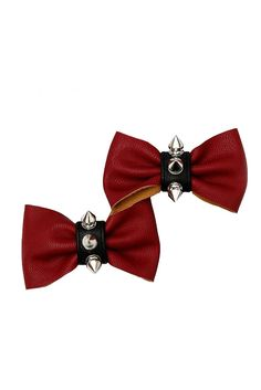Red and Black Vinyl Silver Spike Bow Hair Clips 2 Pack #hottopic $12.50 (bogo 50%)