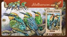 ST16420b Bee eaters (Merops ornatus) Bee Eater, Stamps, Seals, Postage Stamps