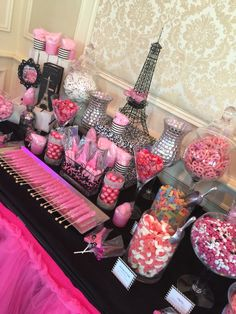 Paris themed candy table we made for a sweet 16 at meadow wood manor in Randolph, NJ