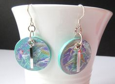 Wood Earrings, Acrylic Painted Round Wood Silver Earring, Light Weight Abstract Painted Dangle Earring, Made In Canada, Gifts For Her.