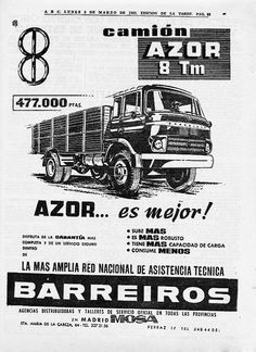 Azor 8Tm Barreiros Advertising Poster, Old Trucks, Cars And Motorcycles, Cars For Sale, Vintage Cars, Tractors, Transportation, Vehicles, Flags