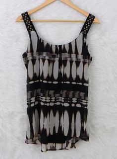 Womens MAURICES Watercolor Striped Embellished Straps Lined Tank Top Size Medium #Maurices #TankBlouse #Casual