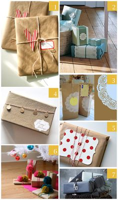 some more wrapping ideas with doilies and brown paper.