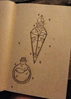 Mana and health potions tattoos flashsheet drawings potions Pencil Art Drawings, Art Drawings Sketches, Easy Drawings, Tattoo Drawings, Tattoo Sketches, Bottle Drawing, Desenhos Harry Potter, Harry Potter Drawings, Bullet Journal Inspiration