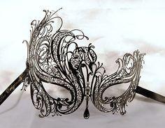 venetian mask luxury | LUXURY VENETIAN METAL MASK; black venetian mask,AUTHENTIC Venice mask ...