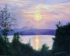 Online gallery of Fine Art by Brenda L. Kenney: Original Paintings of Northern New England Joy Of Life, Lake View, Online Gallery, New Hampshire, New England, Oil On Canvas, Original Paintings, Fine Art, Sunset