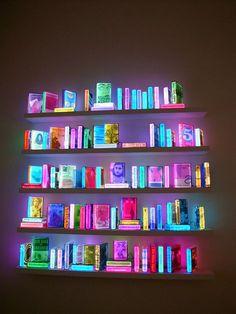 "Airan Kang ""109 Lighting Books"" | Flickr Photo Sharing! #literature #fluorescent #display #books #bookcase #glow #art #library #lighting #shelves #neon"