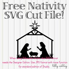 free nativity svg free cutting file for silhouette Cricut Vinyl, Svg Files For Cricut, Cricut Fonts, Nativity Silhouette, Silhouette Files, Christmas Svg, Christmas Ideas, Christmas Ornaments, Christmas Patchwork
