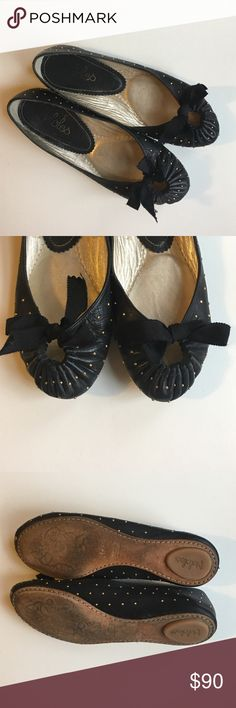 Maloles Zoe Stud Black Flats Size 38 Pre-loved. Black flats with gold studs. Signs of wear are only the bottoms. Fits like a size 7.5. Comes with original box and dust bag. Maloles Shoes Flats & Loafers