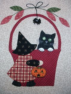 "BLOCK 10 - October's ""A Tisket A Tasket"" , Bunny Hill Block of the Month by Happy 2 Sew, via Flickr"