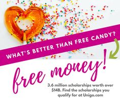 Find scholarships you qualify for at www.unigo.com/scholarships Financial Aid For College, College Planning, Free Candy, Heavens, Finding Yourself, How To Plan, Paradise