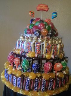 My husband birthday cake made from his favorite candies.