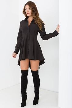 TAKIN' CARE OF BUSINESS SHIRT DRESS BLACK $57.60