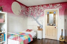 LOVE the moon with the cherry blossom tree on the wall! I'd decorate the rest of the room very differently though. Bedroom Wall, Girls Bedroom, Bedrooms, Teenage Room, Ideas Hogar, Happy Paintings, Cherry Blossom Tree, Room Themes, Inspired Homes
