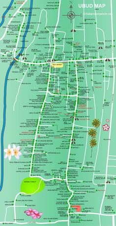 Ubud Map is a map of tourist information about Ubud Village and surrounding area located in the middle of Bali Island. Please see all the detail on the map. Bali Lombok, Ubud Hotels, Ubud Villas, Bali Travel Guide, Asia Travel, Travel Guides, Disneyland Paris, Ubud Indonesia, Bali Baby