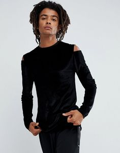 ASOS Longline Muscle Long Sleeve T-Shirt In Velour With Cut Out Should