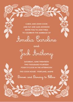 block printed florals wedding invitation by katharine watson for minted