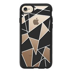 Simple Black White Geometric Triangles Linear Pattern - iPhone 7 Case... (49 AUD) ❤ liked on Polyvore featuring accessories, tech accessories, iphone case, iphone cover case, clear iphone case, apple iphone case, iphone cases and print iphone case