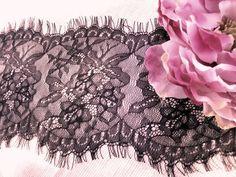 6 Wide Espresso Brown Floral Stretch Nylon Lace Trim by fabricdepo