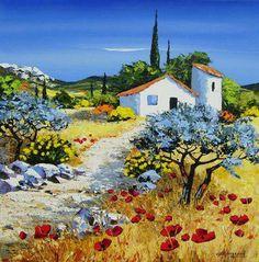 Landscape Artwork, Landscape Illustration, Watercolor Landscape, Watercolor Art, Monet Paintings, Happy Paintings, Seascape Paintings, Spring Painting, Building Art