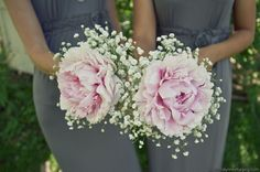 pink peonies and baby's breath | fleurdecor bridesmaid bouquets of a large peony bloom with baby's ...
