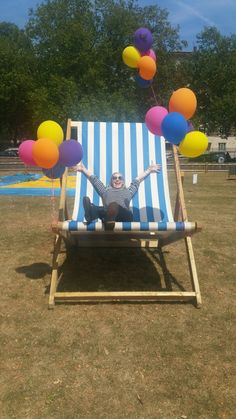 High quality Giant Deck Chair - Blue Stripe available to hire. View Giant Deck Chair - Blue Stripe details, dimensions and images. Summer Events, Holidays And Events, Festival Themed Party, Storybook Gardens, Homemade Wedding Decorations, Holiday Party Themes, Seaside Theme, Beer Fest, Alice In Wonderland Party