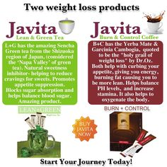 Javita's Lean + Green Tea vs Javita's Burn + Control Coffee  Both weight loss products easy to use!