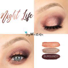 Night Life Eye Trio uses three SeneGence ShadowSense : Bright Lights Glitter, Brownstone Shimmer Natural Eyeshadow Looks, Fall Eyeshadow Looks, Makeup Dupes, Beauty Makeup, Eye Makeup, Makeup Stuff, Fall Makeup, Summer Makeup, Makeup Looks 2017