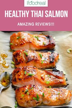 Clean Eating Baked Thai Salmon Recipe -- 3 ingredient and 15 minute out of this world healthy dinner!Clean Eating Baked Thai Salmon Recipe -- 3 ingredient and 15 minute out of this world healthy dinner! Seafood Recipes, Cooking Recipes, Healthy Recipes, Meal Recipes, Family Recipes, Recipes Dinner, Potluck Recipes, Grilled Recipes, Baby Recipes