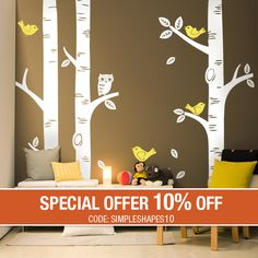 "$125 (with 10% off), 3k reviews, SimpleShapes. Three thicker trees, standard height is 108"".   Three colors, owl same as trees.  The perfect tree wall decal for your baby nursery. This is our extremely popular Birch Tree wall decal set which was featured in Project Nursery!"