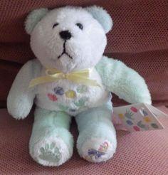 NWT Beary Thoughtful rattle bear plush stuffed animal mint white small toy NEW #BearyThoughtful