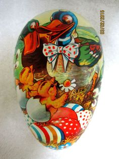 Vintage  Paper Mache Easter Egg Germany Candy Container Box Ducks CLASSIC