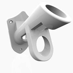 extremely durable flag pole bracket mount 2 position aluminum adjustable knob white - Flag Pole Holder
