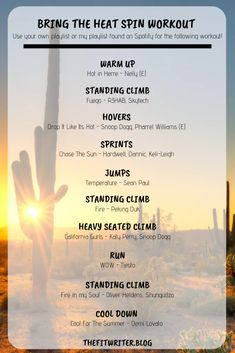 Spin Workout: Bring the Heat! The Fit Writer Bring The Heat, Bring It On, Spin Class Routine, Spin Playlist, Spin Bike Workouts, Gym Workouts, Swimming Tips, Swimming Workouts, Cycling Workout