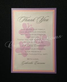 Butterfly First Communion Thank You Card by CravoCreation on Etsy, $2.00