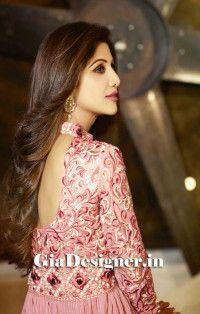 Shilpa Shetty Pink Reshem Work charming Anarkali Bollywod Replica Suit