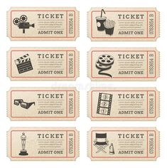 Illustration about Eight hi quality vector cinema tickets. Each ticket is orgenized in 3 layers, separating background from art and text. Illustration of effect, raffle, distressed - 40829978 Journal Stickers, Planner Stickers, Journal Cards, Printable Stickers, Cute Stickers, Deco Theme Cinema, Ticket Cinema, Cinema Cinema, Kino Party