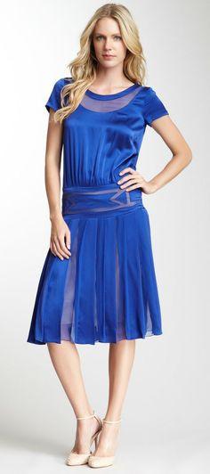Alberta Ferretti Silk and Satin Cap Sleeve Dress