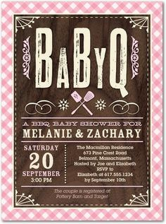 Baby Barbecue - Baby Shower Invitations - Hello Little One - Princess Pink