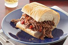 Please the whole table when you serve this Italian Beef Sandwich recipe. Roasted peppers and grated Parmesan cheese add extra flavor to an Italian Beef Sandwich which takes only 10 minutes to prep! Kraft Foods, Kraft Recipes, Pot Roast Recipes, Slow Cooker Recipes, Crockpot Recipes, Dinner Recipes, Cooking Recipes, Dinner Ideas, Party Recipes